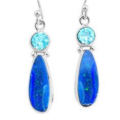 925 silver 8.11cts natural blue doublet opal australian topaz earrings r72698