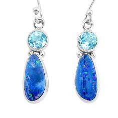 925 silver 6.88cts natural blue doublet opal australian topaz earrings r72704
