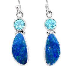 925 silver 8.49cts natural blue doublet opal australian topaz earrings r72707