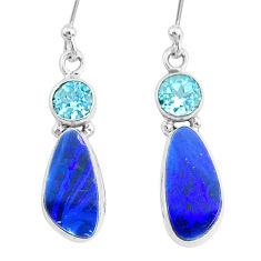 925 silver 7.66cts natural blue doublet opal australian topaz earrings r72720
