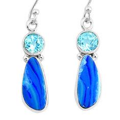 925 silver 8.49cts natural blue doublet opal australian topaz earrings r72726