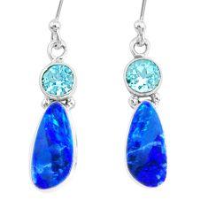 925 silver 7.66cts natural blue doublet opal australian topaz earrings r72740
