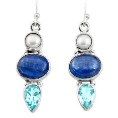 925 silver 14.24cts natural blue kyanite topaz pearl dangle earrings r47206