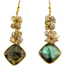 925 silver 27.43cts natural blue labradorite 14k gold dangle earrings r31580