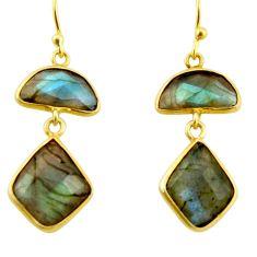 925 silver 13.13cts natural blue labradorite 14k gold dangle earrings r31652