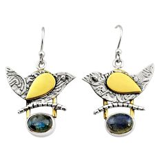 925 silver 4.21cts natural blue labradorite 14k gold dangle earrings r37256