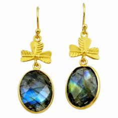 925 silver 13.15cts natural blue labradorite 14k gold dangle earrings t44093