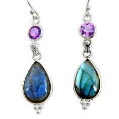 925 silver 14.08cts natural blue labradorite amethyst dangle earrings r29204