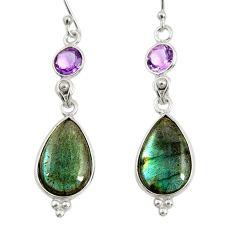 925 silver 15.34cts natural blue labradorite amethyst dangle earrings r29207