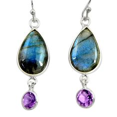 925 silver 12.54cts natural blue labradorite amethyst dangle earrings r29210