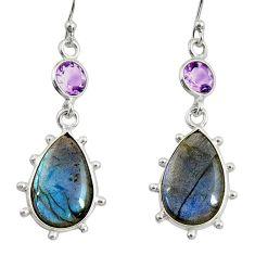 925 silver 14.08cts natural blue labradorite amethyst dangle earrings r29213