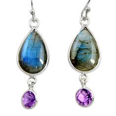 925 silver 13.13cts natural blue labradorite amethyst dangle earrings r29217