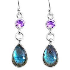 925 silver 10.19cts natural blue labradorite amethyst dangle earrings r66472