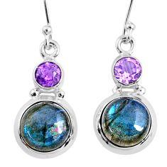 925 silver 10.19cts natural blue labradorite amethyst dangle earrings r66480