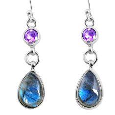 925 silver 10.76cts natural blue labradorite amethyst dangle earrings r66485