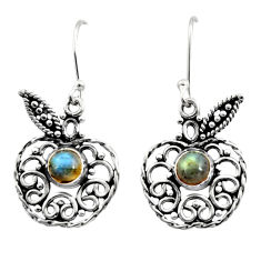 Clearance Sale- 925 silver 2.46cts natural blue labradorite dangle apple charm earrings d41106