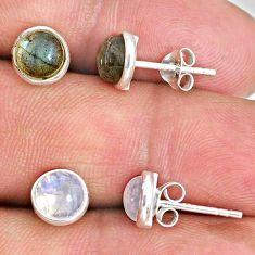 925 silver 4.99cts natural blue labradorite moonstone stud earrings r65504