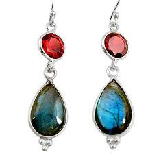 925 silver 15.34cts natural blue labradorite red garnet dangle earrings r29180