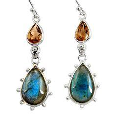 925 silver 16.49cts natural blue labradorite smoky topaz dangle earrings r29220