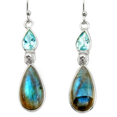 925 silver 11.93cts natural blue labradorite topaz dangle earrings r21679