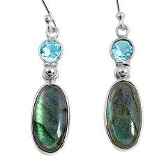 925 silver 12.54cts natural blue labradorite topaz dangle earrings r63629