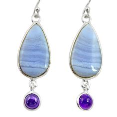 925 silver 14.08cts natural blue lace agate amethyst dangle earrings r28930