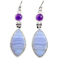 925 silver 15.25cts natural blue lace agate amethyst dangle earrings r30425