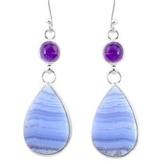 925 silver 22.08cts natural blue lace agate amethyst dangle earrings r86800