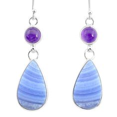 925 silver 17.72cts natural blue lace agate amethyst dangle earrings r86805