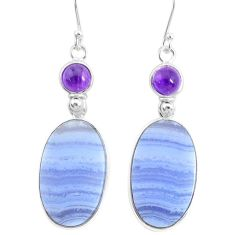 925 silver 22.50cts natural blue lace agate amethyst dangle earrings r86810