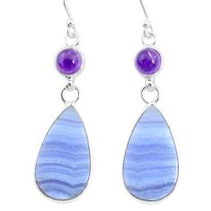 925 silver 16.68cts natural blue lace agate amethyst dangle earrings r86815
