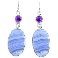 925 silver 23.94cts natural blue lace agate amethyst dangle earrings r86819