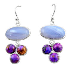 925 silver 16.04cts natural blue lace agate copper turquoise earrings r40418