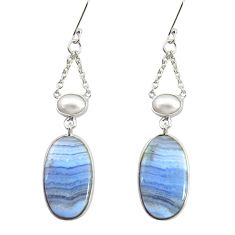 925 silver 19.29cts natural blue lace agate pearl dangle earrings d39544