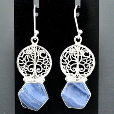 925 silver 10.01cts natural blue lace agate tree of life earrings r96810