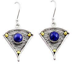 925 silver 2.23cts natural blue lapis lazuli 14k gold dangle earrings d45814