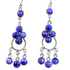925 silver 12.96cts natural blue lapis lazuli chandelier earrings r37398