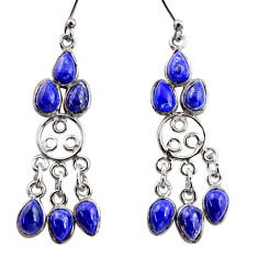 925 silver 10.48cts natural blue lapis lazuli chandelier earrings r37414