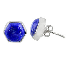 925 silver 7.96cts natural blue lapis lazuli hexagon stud earrings r80245