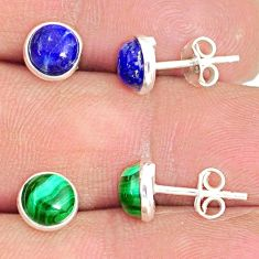 925 silver 6.60cts natural blue lapis lazuli malachite stud earrings r81635