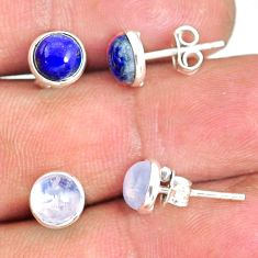 925 silver 6.60cts natural blue lapis lazuli moonstone stud earrings r81595