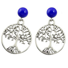 925 silver natural blue lapis lazuli tree of life earrings jewelry c11697