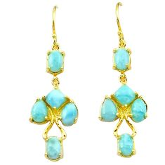 925 silver natural blue larimar 14k gold dangle earrings jewelry a63397 c15380