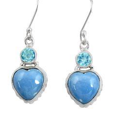Clearance Sale- 925 silver 12.71cts natural blue owyhee opal topaz dangle heart earrings d39512