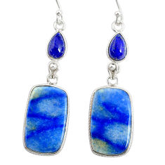 925 silver 19.03cts natural blue quartz palm stone dangle earrings r86969