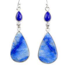 925 silver 19.79cts natural blue quartz palm stone dangle earrings r86973