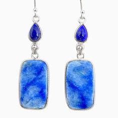 925 silver 20.71cts natural blue quartz palm stone dangle earrings r86977
