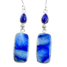 925 silver 20.68cts natural blue quartz palm stone dangle earrings r86980