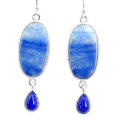 925 silver 18.09cts natural blue quartz palm stone dangle earrings r86984