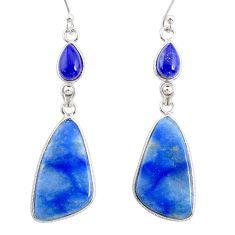 925 silver 18.12cts natural blue quartz palm stone dangle earrings r86987